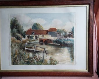 c1929 Vintage Watercolour Mill and Pond Landscape