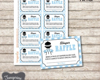 Blue Diaper Raffle Cards BabyQ, BBQ Baby Shower Diaper Raffle Ticket, Diaper Raffle Insert, Printable PDF File, Instant Download,
