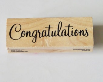 Congratulations Rubber Stamp, Wood Mounted, Words, Phrases, Sentiments