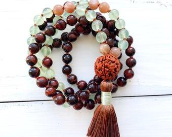 108 Mala Beads, Knotted Mala Necklace, Red Tiger Eye, Prehnite, Sunstone, Rudraksha, Yoga Jewelry, Spiritual Jewelry, Tassel Necklace