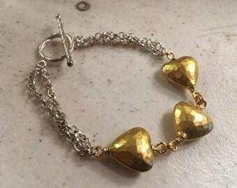 Gold Heart Bracelet - Silver Chain Jewelry - Mixed Metal Jewellery - Fashion - Charm