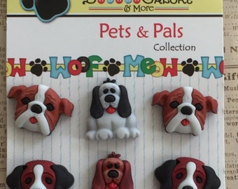 """SALE Dog Buttons, """"Dog Days"""" Pets & Pals Collection by Buttons Galore, Carded Set of 6 Dog Buttons, Style PP102"""