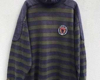 Vintage 90s Tommy Hilfiger Big Logo Sweatshirt Tommy Hilfiger Stripe Sweater Hilfiger Shirt Spellout Hip Hop Swag sz L