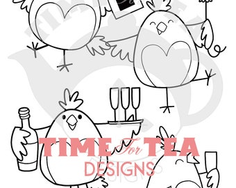Hen Do Digital Stamp, Line Drawing Illustration, Paper Craft, Adult Colouring, Card Making, Hens, Hen Party, Critter Stamps, Wedding