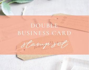 Custom business card stamp handmade business cards custom custom double business card stamp set business cards custom logo stamp handmade craft colourmoves