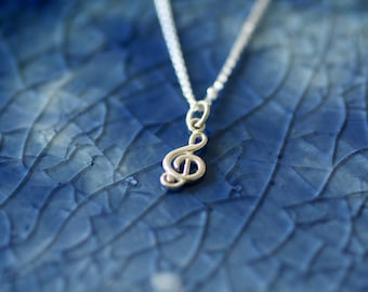 Sterling Silver Music Note - Treble Clef Charm - Music Theme Jewelry - Music Lover - Music Charm - Silver Music Note - Music Lover Gift