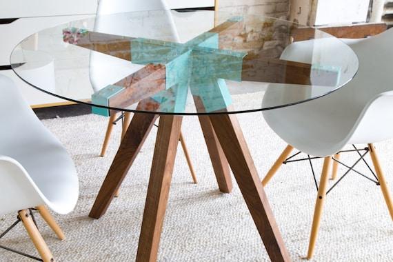 Round Dining Table Handmade Wood Modern Furniture Local Custom TableAsh TableSmall Glass The Maui