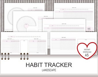 Habit Tracker Printable PDF Instant Download Daily Monthly Yearly Habit Log A5 Planner 2018 Insert Life Organiser Goal Tracker Landscape