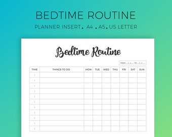 Bedtime Routine Printable, Evening Ritual, Weekly Night Time Routine, A4, A5, US Letter, To-do List, Organization Printable, Daily Routine