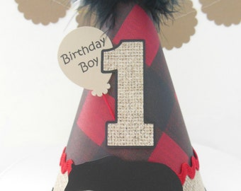 Little Lumberjack - Camping - Birthday Party Hat -Forest Trees,Burlap, Red and Black Plaid, Black- Buffalo Check - Personalized
