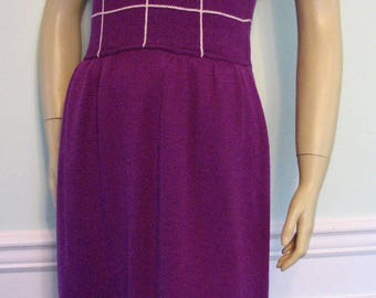 1980s Dress St John Marie Gray Purple Knit Size 12
