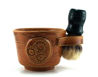 Steampunk Shave Mug in Brown: Fathers Day Gift Ready to Ship Brush not Included
