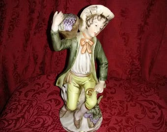 Vintage Home interior man with grapes figurine