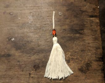 Tassel, Ivory and Red Tassel,  OOAK, Free Shipping, Ready-to-Ship, Home Decor