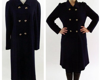 Vintage 1960's Wool Pea Coat - medium weight Navy Blue Mid length Military Jacket - Light Weight Fall Preppy Long Dress Coat - Size Medium