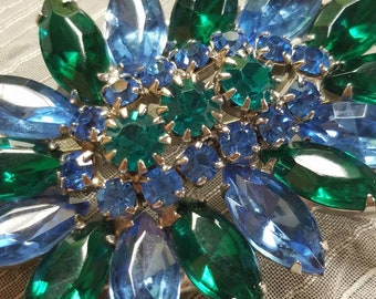 Vintage Green and Blue Brooch Pin Silver Tone Clear Glass Rhinestones Faceted