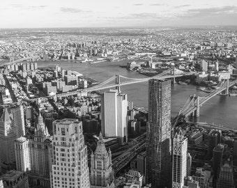 Three Bridges, Brooklyn Bridge, Manhattan Bridge, NYC Bridges, NYC Black and White, New York Photography, New York Print, NYC Art