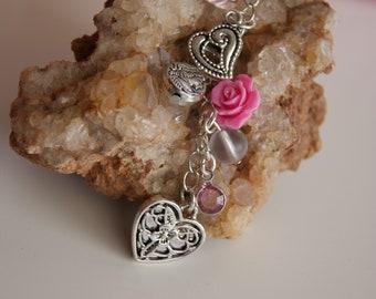 Hearts & Flowers Purse Charm