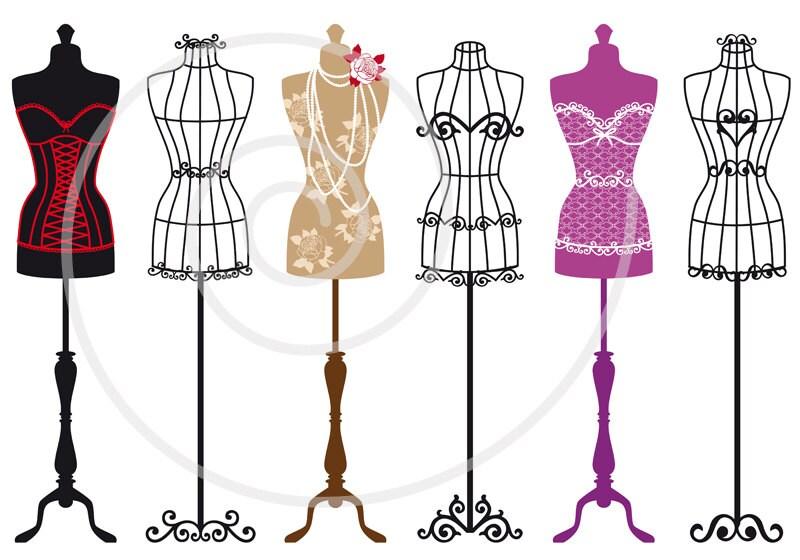 vintage mannequin digital clip art set tailor s dummy rh etsy com dress form silhouette clip art Dress Form Illustration