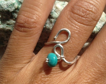 Sterling silver Sleeping Beauty Turquoise Dangle, Size 6.5-6.75, Jewelry, Lilyb444, Gifts for her,