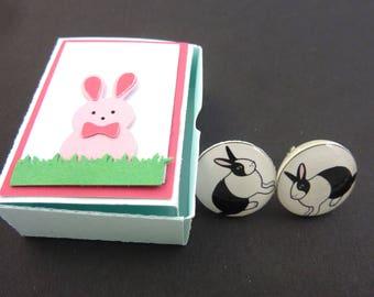 "Rabbit Earrings. Post or Stud Earrings.  5/8"" or 16 mm Round. In Handmade Gift Box."