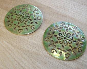 "Large Green Enameled Viking Brooches - Silver Tone 2.5""x2.5"" Viking Apron Dress Brooch Set - SCA Turtle Brooches -Viking Reenactment"