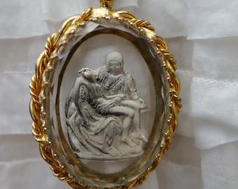 Necklaces vintage etsy au vintage religious brass glass pieta sculpture intaglio pendant necklace neb109 mozeypictures Gallery
