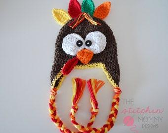 PDF Crochet Pattern - Crochet Turkey Hat in Several Sizes