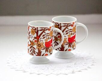 Pair of Pedestal Mugs, Irish Coffee Mugs