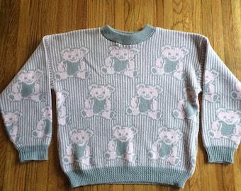 Vintage Grateful Dead Style Bear Knit Sweater by Adele (1980's)