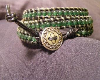 Green Jade Wrap Style Ladder Bracelet
