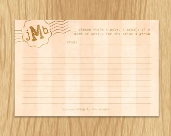 Custom Blush and Gold Bridal Shower Memory Card