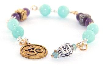 Meditation Beads / Prayer Beads - Om & Buddha Symbols, Gemstone Beads