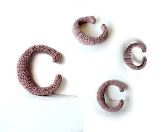 Letter C Crochet Pattern, 3D Alphabet crochet pattern, 3d words pattern, 3d letters pattern, words home deco, decorative letters crochet