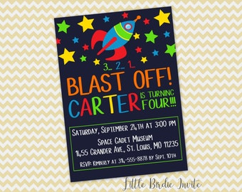 Double sided invite etsy space birthday invitation printable space birthday invitation rocket ship birthday invitation outer space birthday invitation filmwisefo