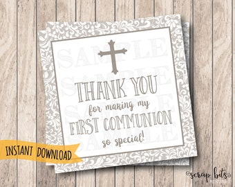 Instant Download Printable First Communion Tags, Small Cross Thank You Tags, Communion Thank You Tags, Religious Thank You Tags
