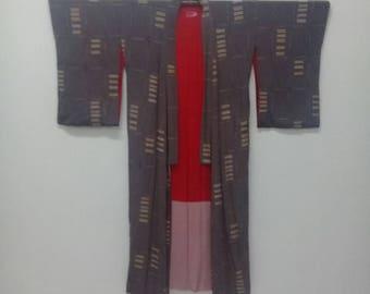 Vintage Japanese Kimono Grey+Red With Abstract Design/Silk Kimono