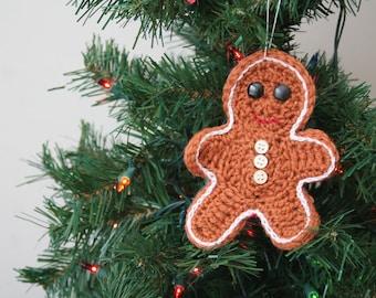 Crochet Holiday Ornament, Gingerbread Man Ornament, Fun Christmas Ornament