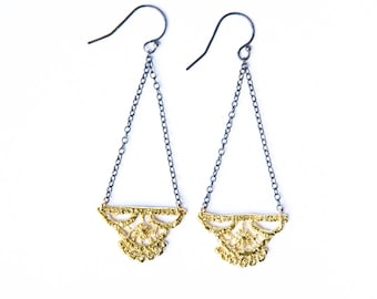 Lily lace earrings chandelier in 14k yellow gold filled