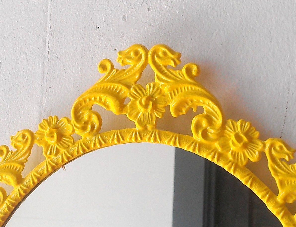 Yellow Oval Mirror in Vintage Ornate Frame Small Bathroom