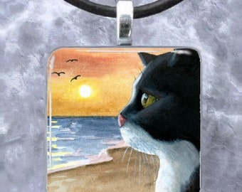 Art Glass Pendant 1x1 Jewelry Necklace Earrings Cat 574 tuxedo sunset from painting by L.Dumas