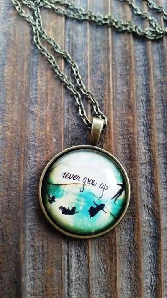 Never Grow Up Quote Necklace, Peter Pan Inspired Necklace, Neverland, Graduation Gift, Peter Wendy Flying, Peter Pan Keychain Key Ring