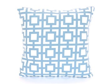 Blue White Geometric Throw Pillow Cushion COVER Couch Sofa Pillow All SIZES Steel Blue Nursery Pillow Bedding Euro Sham Blue Shabby Chic