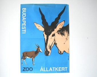 Budapest Zoo Advertising Poster - 1964- blue springbok design- Budapest Hungary