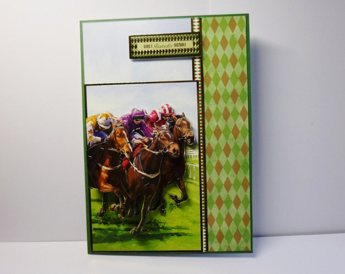 Steeplechase Card, Horse Racing Card. Equine Card, 3 D Decoupage Card, Birthday Wishes, Card For Male