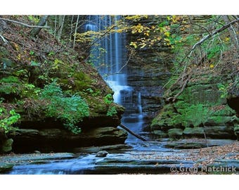 """Fine Art Color Landscape Photography of Waterfall at Matthiessen State Park in Illinois - """"Beneath Lake Falls"""""""