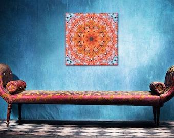 Blossom Mandala scarlet canvas print ~ Illawarra Flame Tree Inspirational wall art ~ Feng Shui Fire element ~ Nature Photography ~ Australia