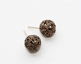 Filigree Ball Studs, Ball Studs, Brass Studs, Filigree Studs, Round Ball Studs, Brass Ball Studs, Vintage Studs