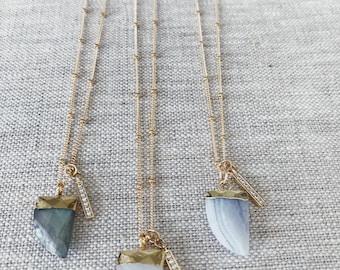 Michelle charm necklace- blue agate