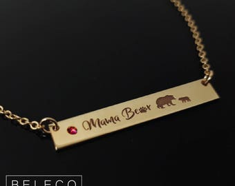 Mama Bear Necklace Birthstones, Mama Bear Birthstone Necklace, Mama Bear Necklace, Mama Bear Bar Necklace, Mama Bear Jewelry, Momma Bear